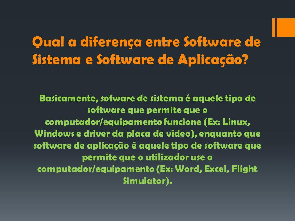 Qual a diferença entre Software de Sistema e Software de Aplicação