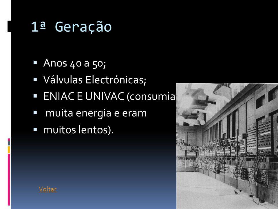 1ª Geração Anos 40 a 50; Válvulas Electrónicas;