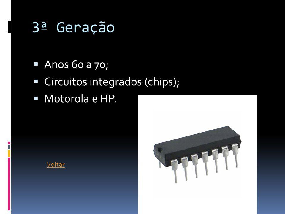 3ª Geração Anos 60 a 70; Circuitos integrados (chips); Motorola e HP.