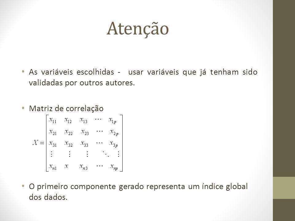 Atenção As variáveis escolhidas - usar variáveis que já tenham sido validadas por outros autores. Matriz de correlação.