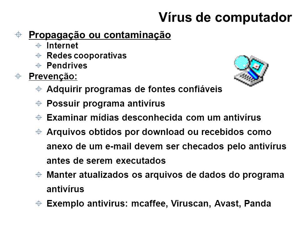 Vírus de computador Propagação ou contaminação Prevenção: