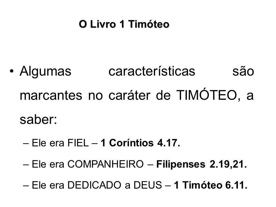 Algumas características são marcantes no caráter de TIMÓTEO, a saber: