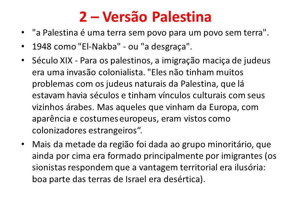 2 – Versão Palestina a Palestina é uma terra sem povo para um povo sem terra . 1948 como El-Nakba - ou a desgraça .