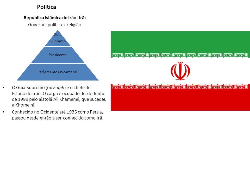 Política República Islâmica do Irão (Irã) Governo: política + religião