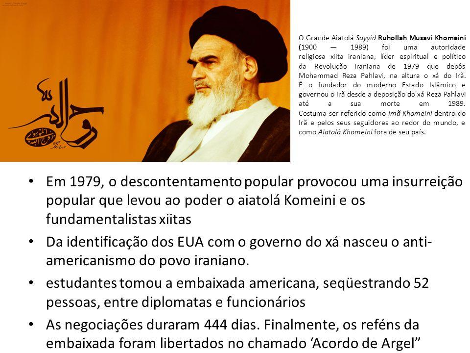 O Grande Aiatolá Sayyid Ruhollah Musavi Khomeini (1900 — 1989) foi uma autoridade religiosa xiita iraniana, líder espiritual e político da Revolução Iraniana de 1979 que depôs Mohammad Reza Pahlavi, na altura o xá do Irã. É o fundador do moderno Estado Islâmico e governou o Irã desde a deposição do xá Reza Pahlavi até a sua morte em 1989. Costuma ser referido como Imã Khomeini dentro do Irã e pelos seus seguidores ao redor do mundo, e como Aiatolá Khomeini fora de seu país.