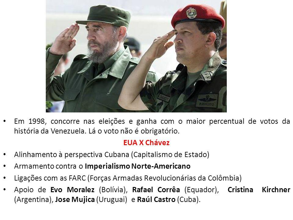 Em 1998, concorre nas eleições e ganha com o maior percentual de votos da história da Venezuela. Lá o voto não é obrigatório.