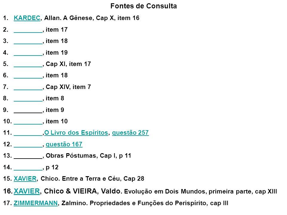 Fontes de Consulta KARDEC, Allan. A Gênese, Cap X, item 16. ________, item 17. ________, item 18.