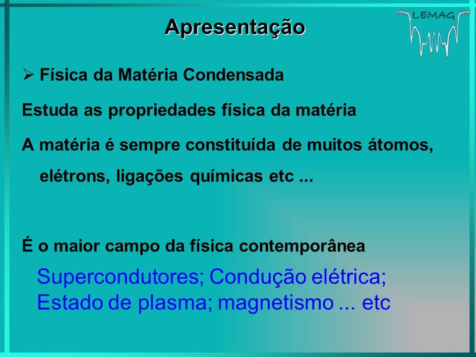 Apresentação Física da Matéria Condensada. Estuda as propriedades física da matéria.