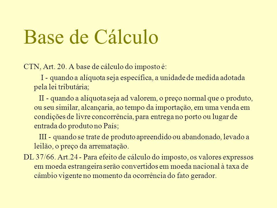 Base de Cálculo CTN, Art. 20. A base de cálculo do imposto é: