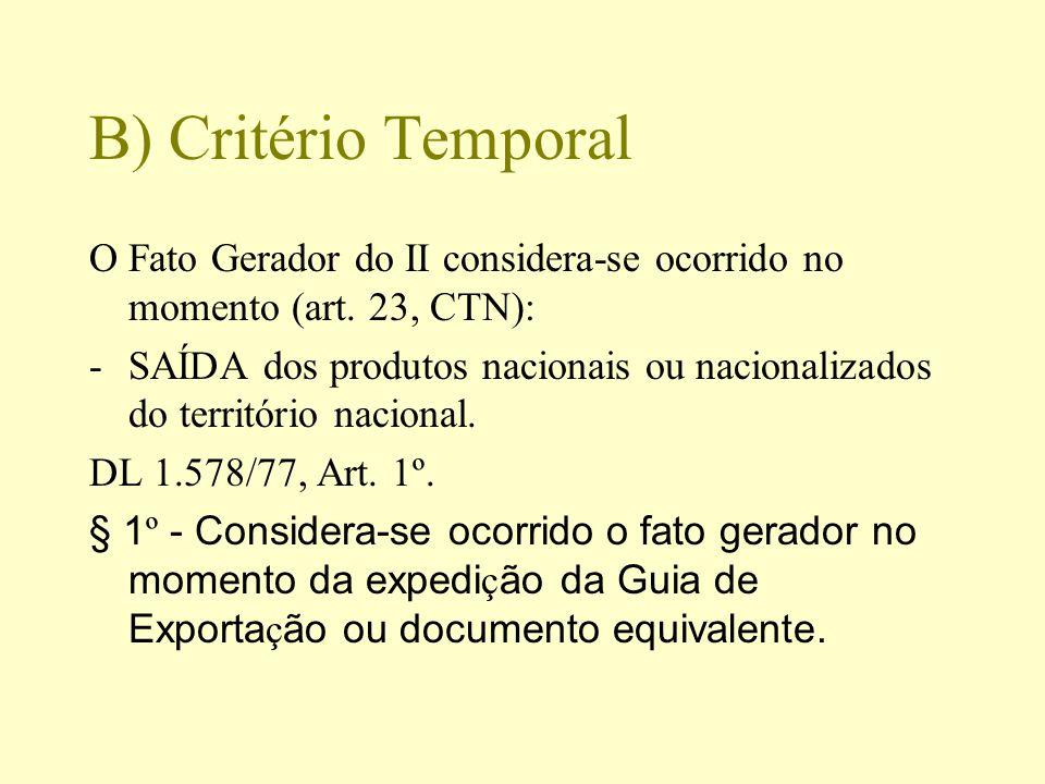 B) Critério Temporal O Fato Gerador do II considera-se ocorrido no momento (art. 23, CTN):