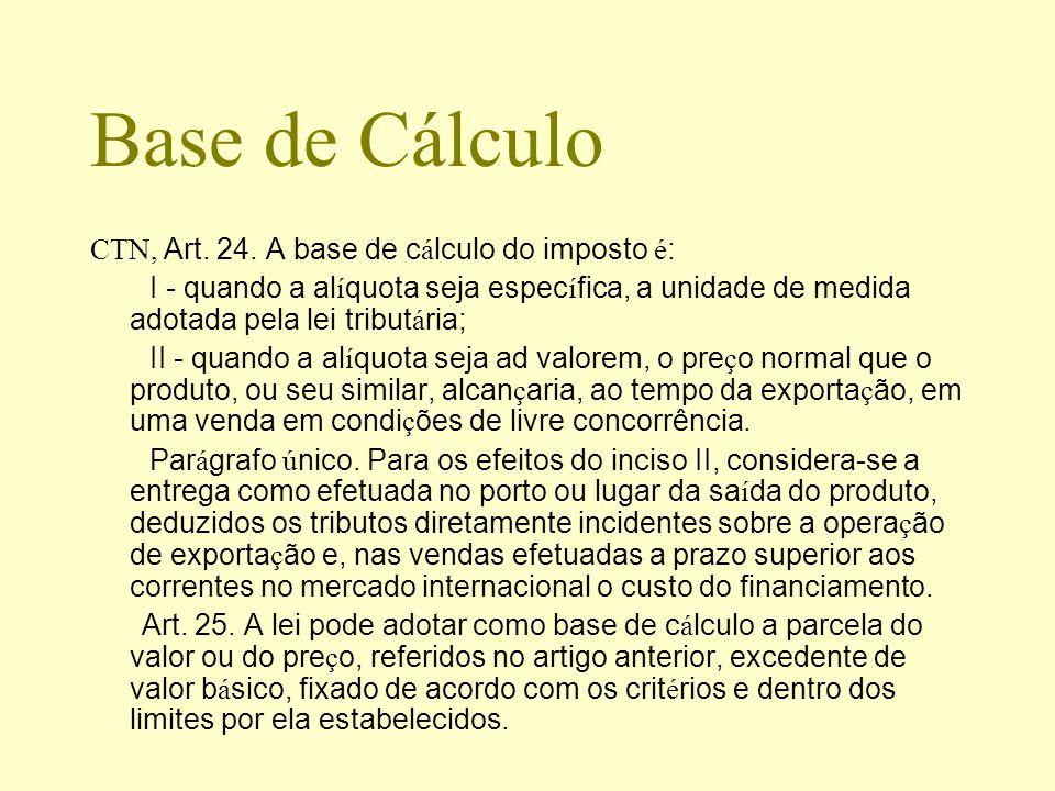 Base de Cálculo CTN, Art. 24. A base de cálculo do imposto é: