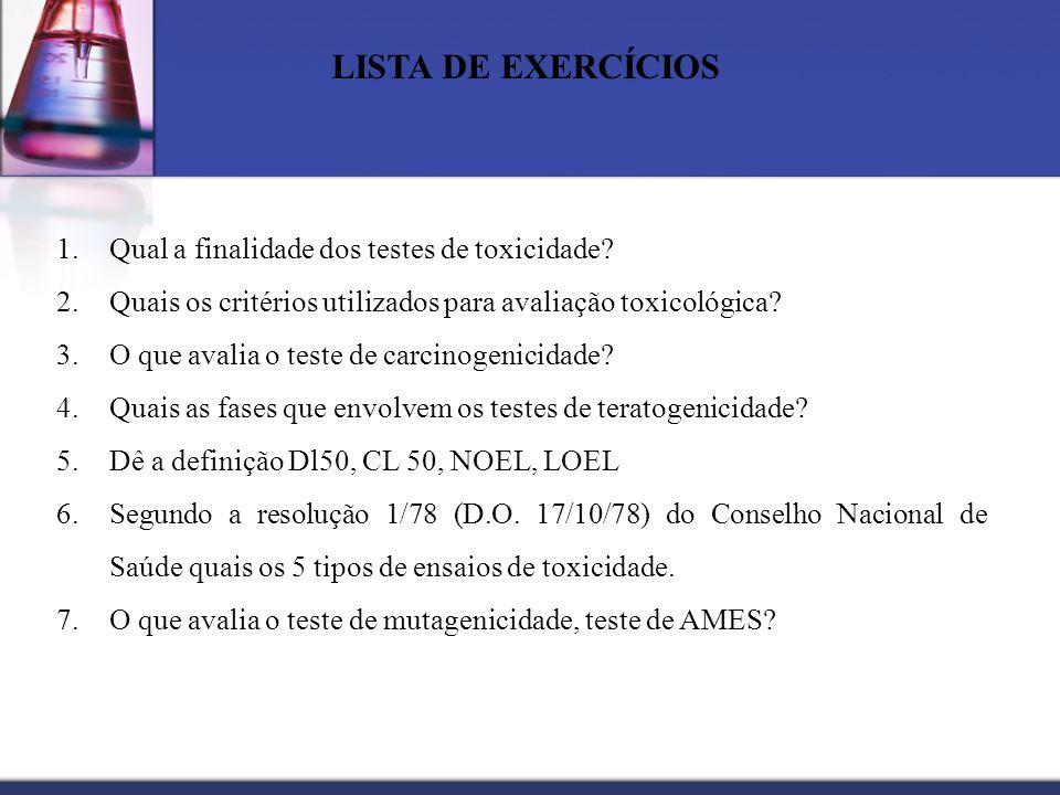 LISTA DE EXERCÍCIOS Qual a finalidade dos testes de toxicidade