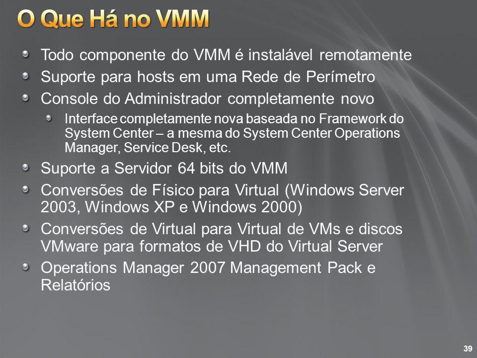 O Que Há no VMM Todo componente do VMM é instalável remotamente