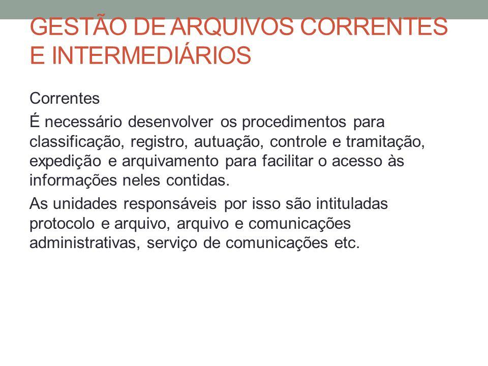 GESTÃO DE ARQUIVOS CORRENTES E INTERMEDIÁRIOS