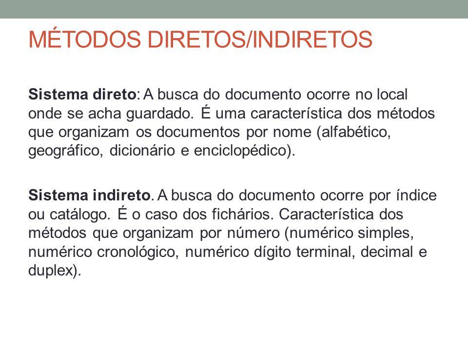 MÉTODOS DIRETOS/INDIRETOS