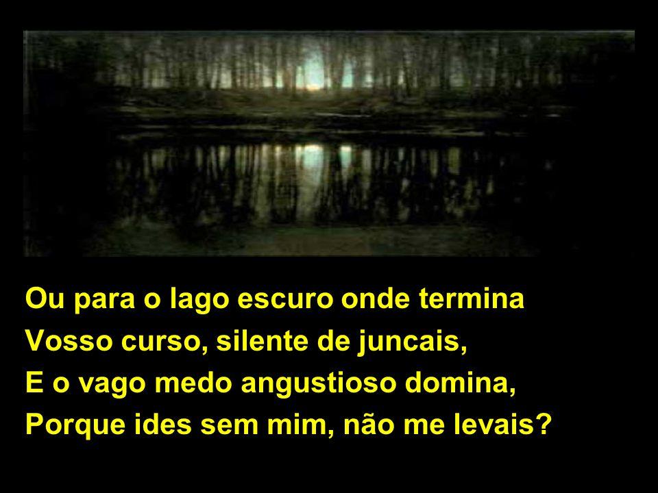 Ou para o lago escuro onde termina Vosso curso, silente de juncais, E o vago medo angustioso domina, Porque ides sem mim, não me levais