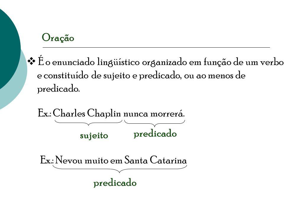 Oração  É o enunciado lingüístico organizado em função de um verbo e constituído de sujeito e predicado, ou ao menos de predicado.