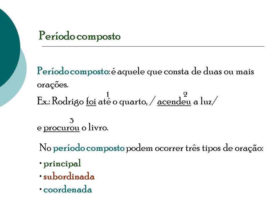 Período composto Período composto: é aquele que consta de duas ou mais orações. 1. 2. Ex.: Rodrigo foi até o quarto, / acendeu a luz/