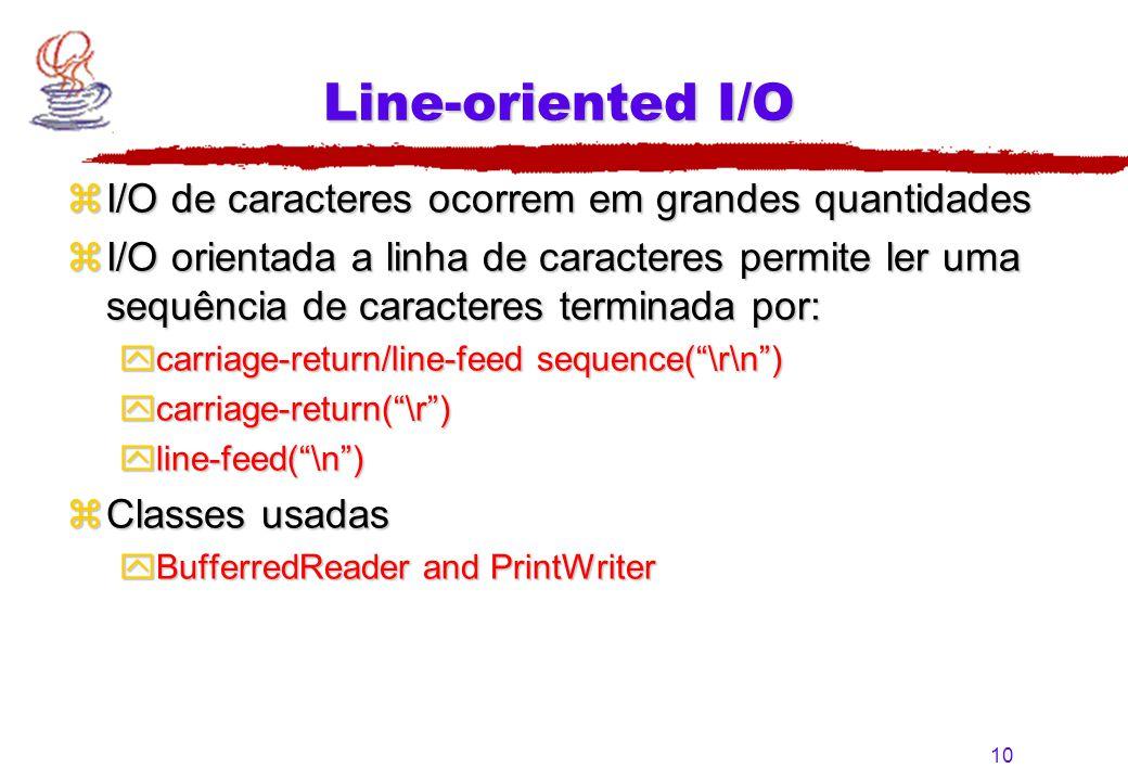 Line-oriented I/O I/O de caracteres ocorrem em grandes quantidades