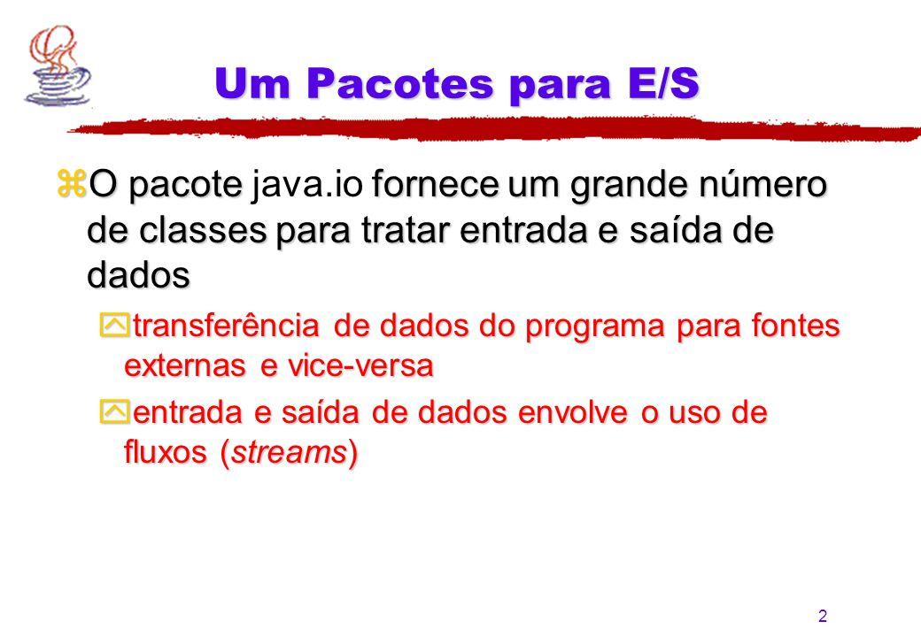 Um Pacotes para E/S O pacote java.io fornece um grande número de classes para tratar entrada e saída de dados.