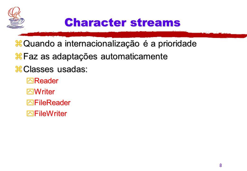 Character streams Quando a internacionalização é a prioridade