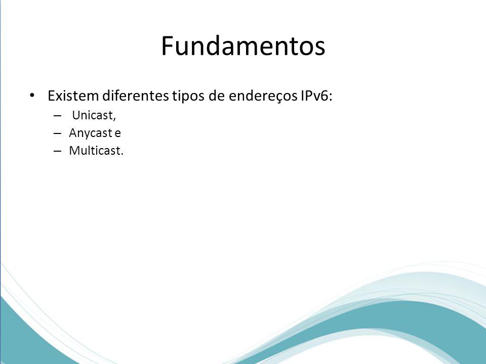 Fundamentos Existem diferentes tipos de endereços IPv6: Unicast,