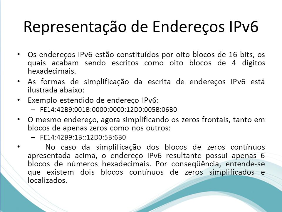 Representação de Endereços IPv6