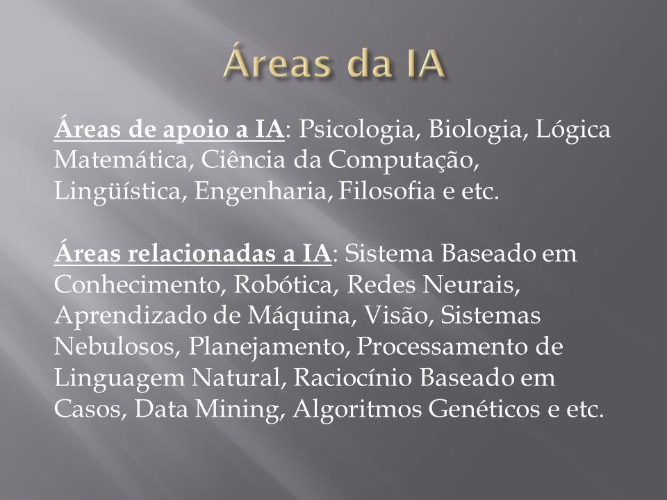 Áreas da IA Áreas de apoio a IA: Psicologia, Biologia, Lógica Matemática, Ciência da Computação, Lingüística, Engenharia, Filosofia e etc.