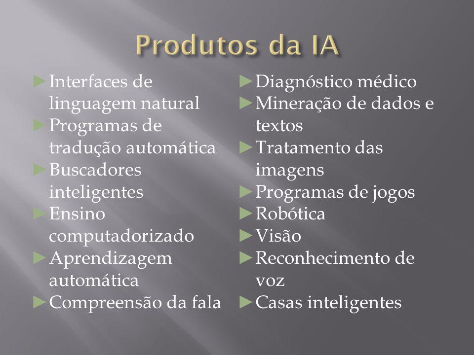 Produtos da IA Interfaces de linguagem natural Diagnóstico médico