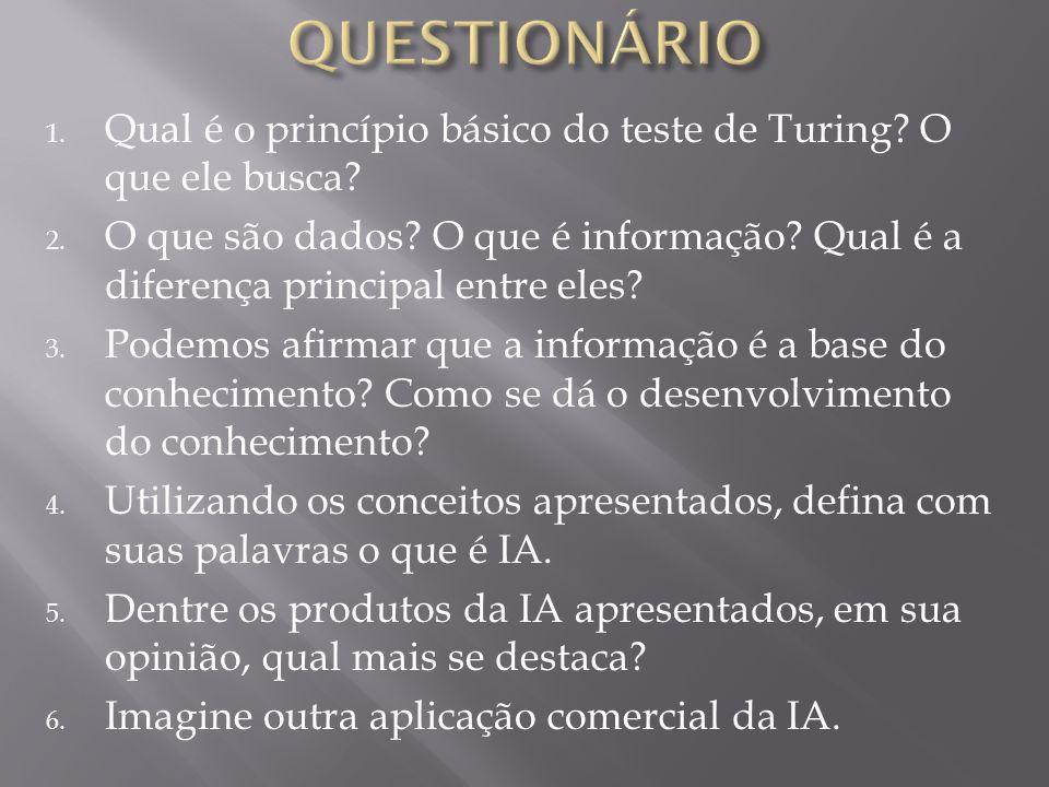 QUESTIONÁRIO Qual é o princípio básico do teste de Turing O que ele busca
