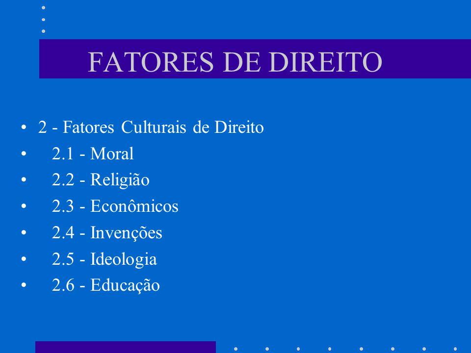 FATORES DE DIREITO 2 - Fatores Culturais de Direito 2.1 - Moral