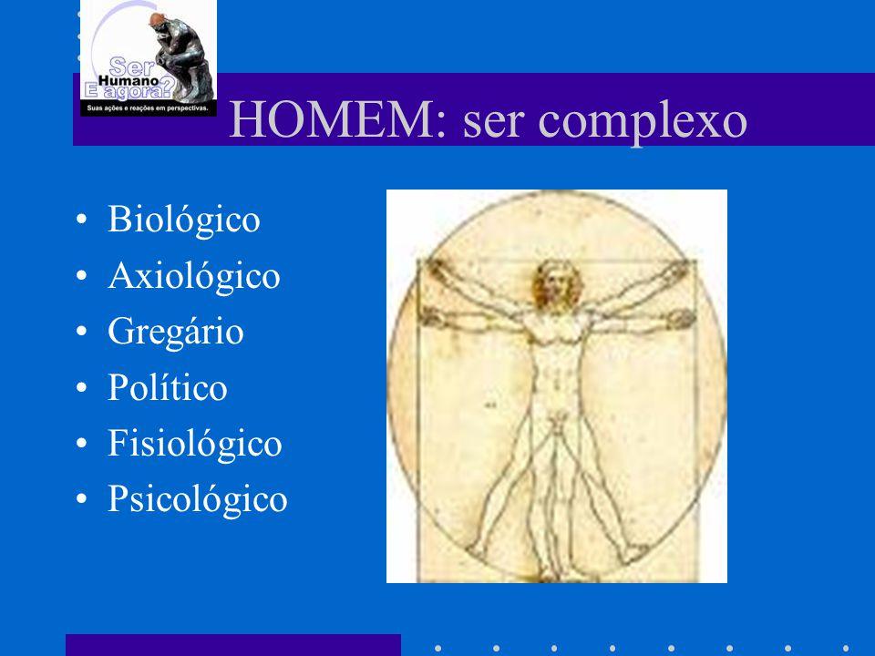 HOMEM: ser complexo Biológico Axiológico Gregário Político Fisiológico