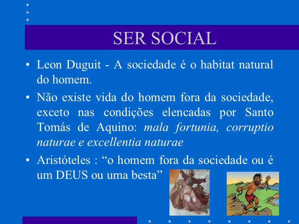 SER SOCIAL Leon Duguit - A sociedade é o habitat natural do homem.