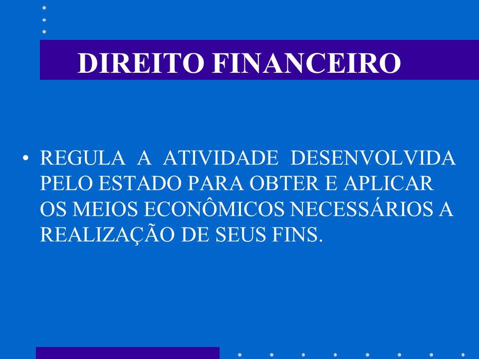 DIREITO FINANCEIRO REGULA A ATIVIDADE DESENVOLVIDA PELO ESTADO PARA OBTER E APLICAR OS MEIOS ECONÔMICOS NECESSÁRIOS A REALIZAÇÃO DE SEUS FINS.