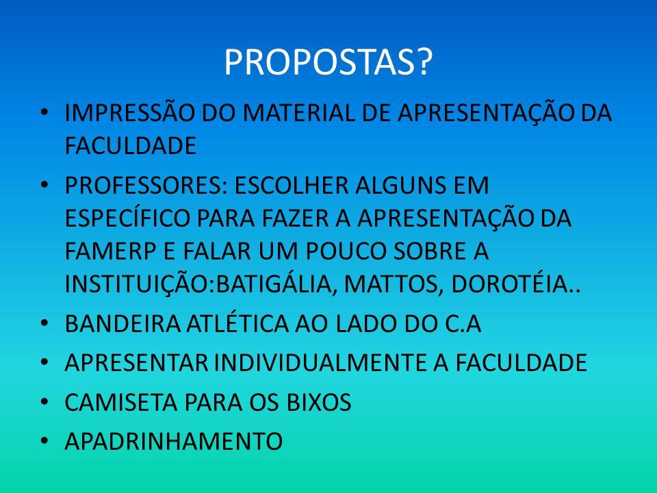 PROPOSTAS IMPRESSÃO DO MATERIAL DE APRESENTAÇÃO DA FACULDADE