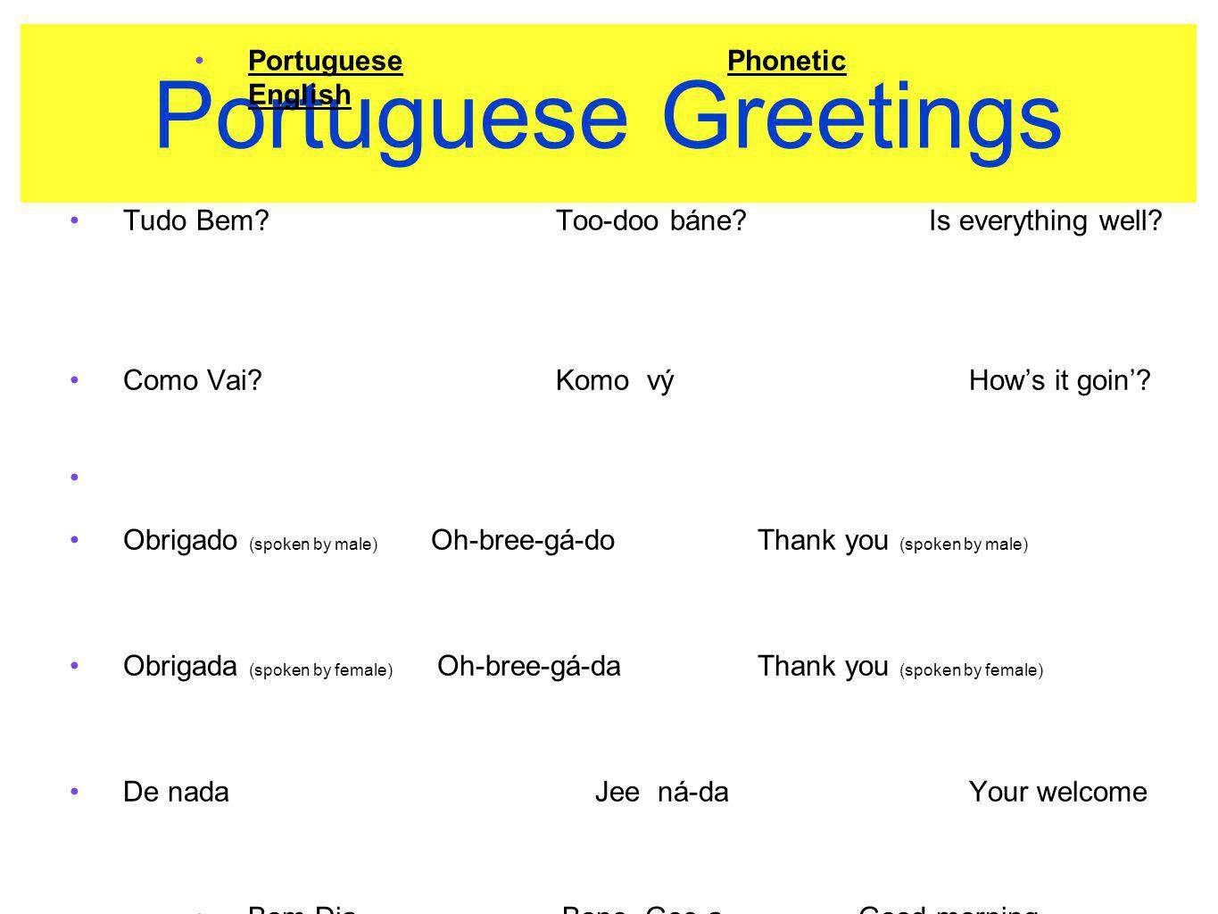 Portuguese Greetings Portuguese Phonetic English
