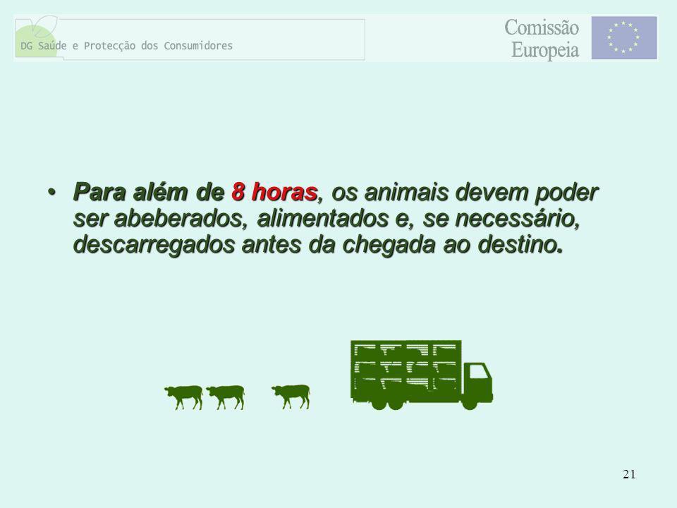 Para além de 8 horas, os animais devem poder ser abeberados, alimentados e, se necessário, descarregados antes da chegada ao destino.