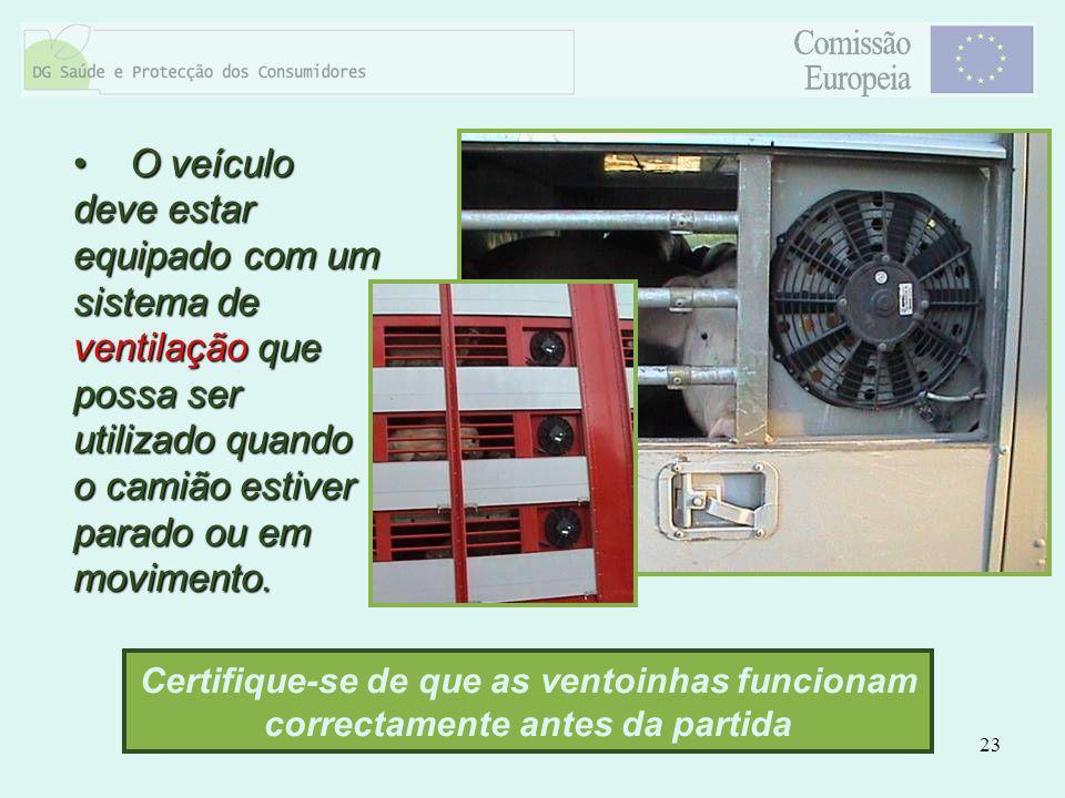 O veículo deve estar equipado com um sistema de ventilação que possa ser utilizado quando o camião estiver parado ou em movimento.