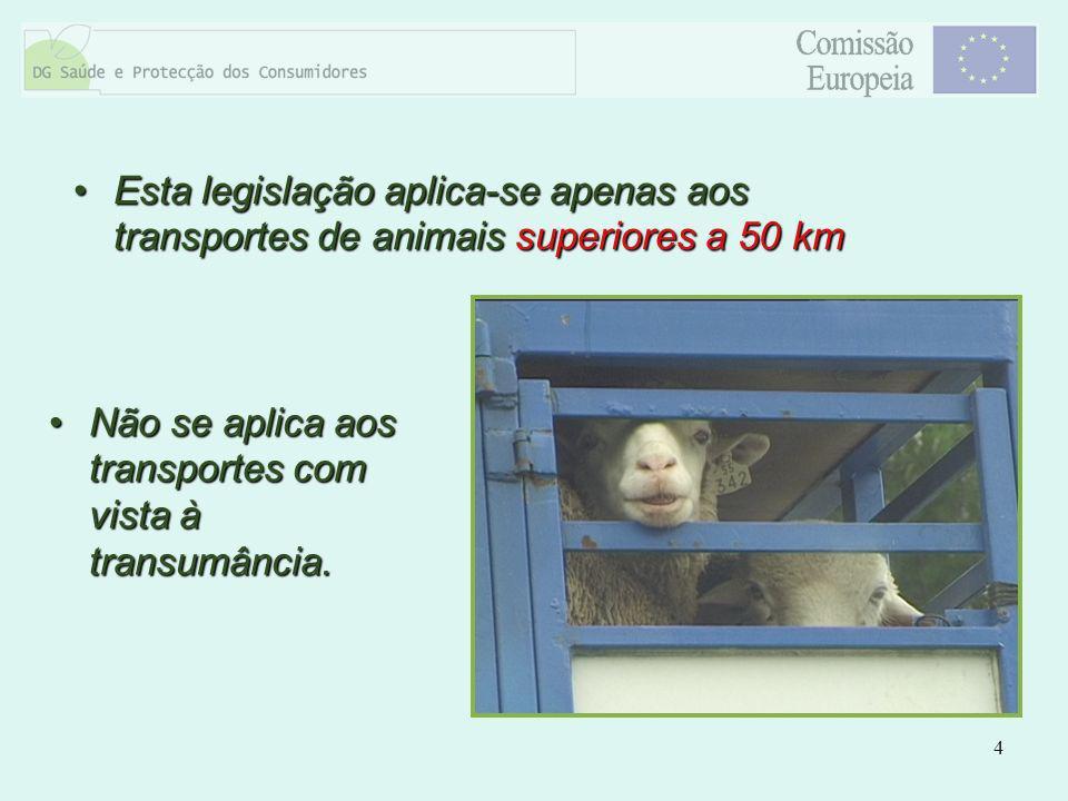 Esta legislação aplica-se apenas aos transportes de animais superiores a 50 km