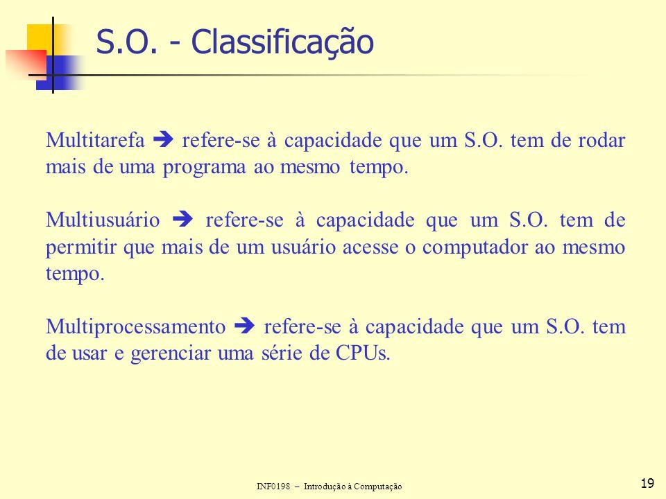 S.O. - Classificação Multitarefa  refere-se à capacidade que um S.O. tem de rodar mais de uma programa ao mesmo tempo.