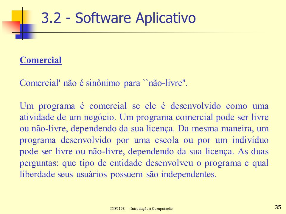 3.2 - Software Aplicativo Comercial