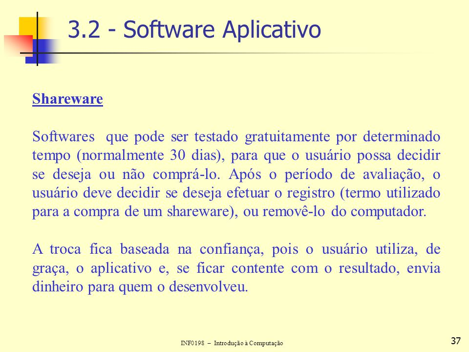 3.2 - Software Aplicativo Shareware