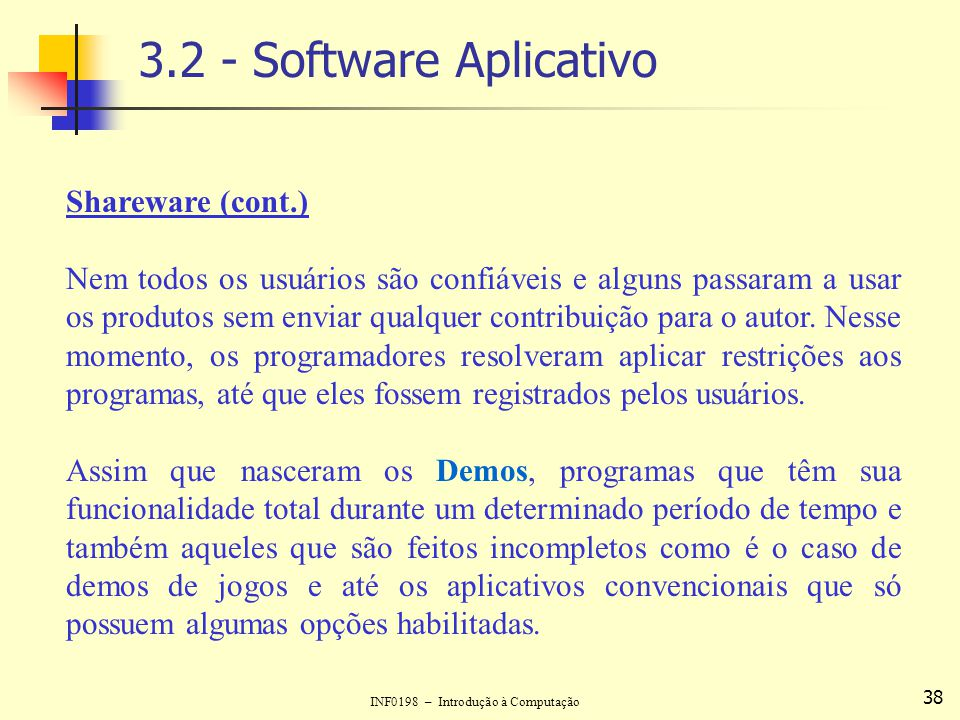 3.2 - Software Aplicativo Shareware (cont.)