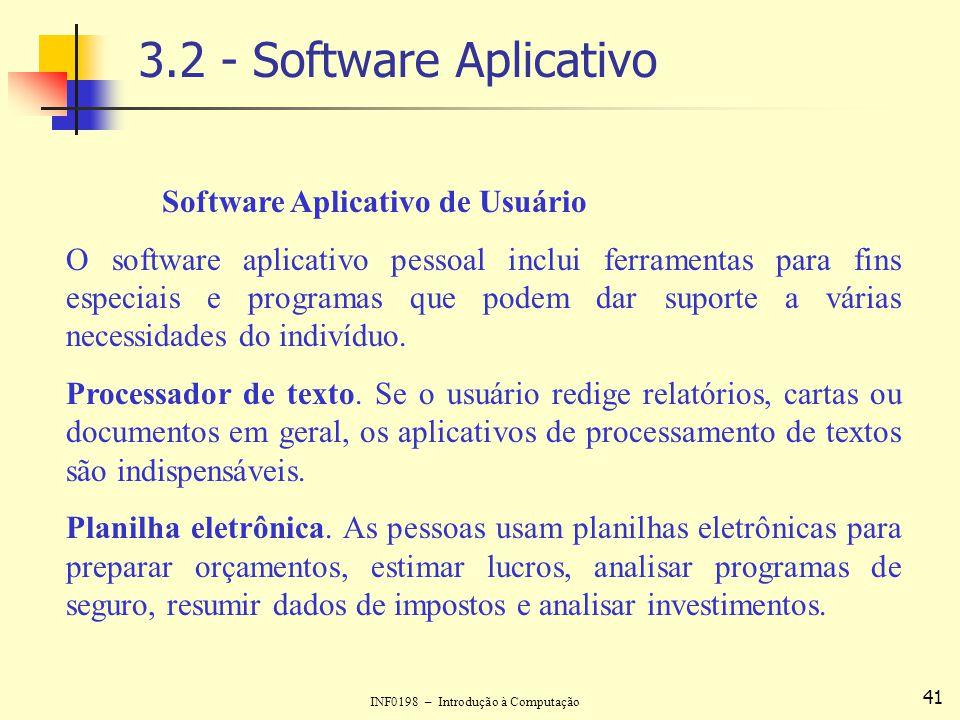 3.2 - Software Aplicativo Software Aplicativo de Usuário