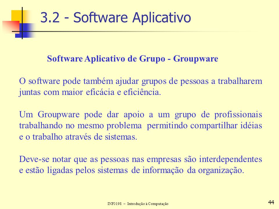3.2 - Software Aplicativo Software Aplicativo de Grupo - Groupware