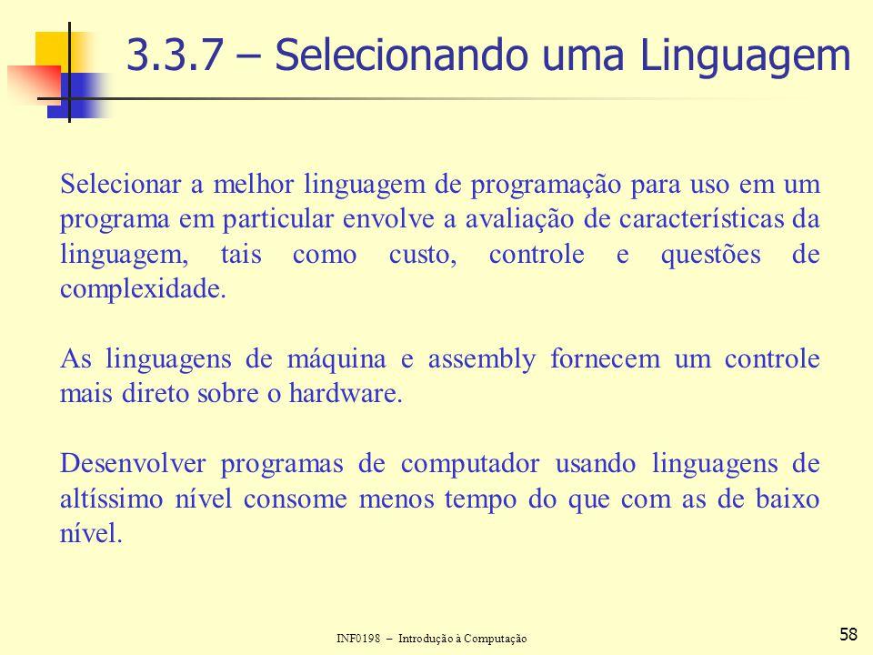 3.3.7 – Selecionando uma Linguagem
