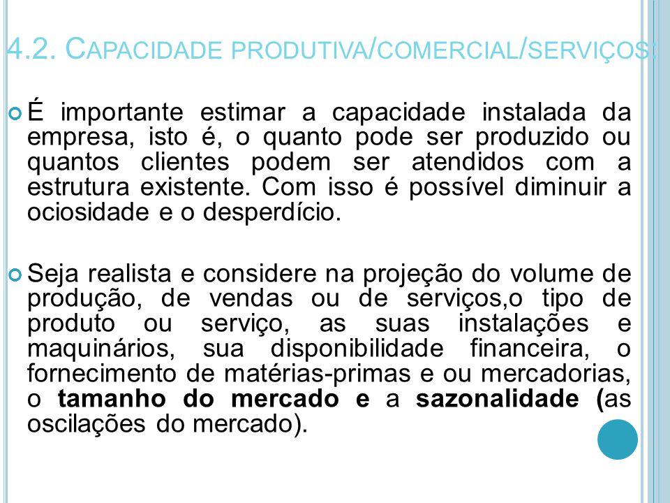 4.2. Capacidade produtiva/comercial/serviços: