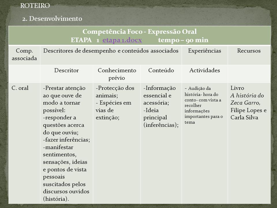 Competência Foco - Expressão Oral ETAPA 1 etapa 1.docx tempo – 90 min