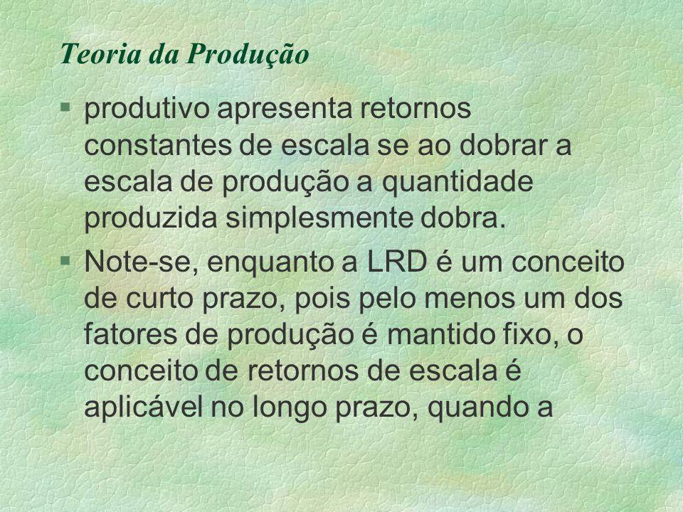 Teoria da Produção produtivo apresenta retornos constantes de escala se ao dobrar a escala de produção a quantidade produzida simplesmente dobra.