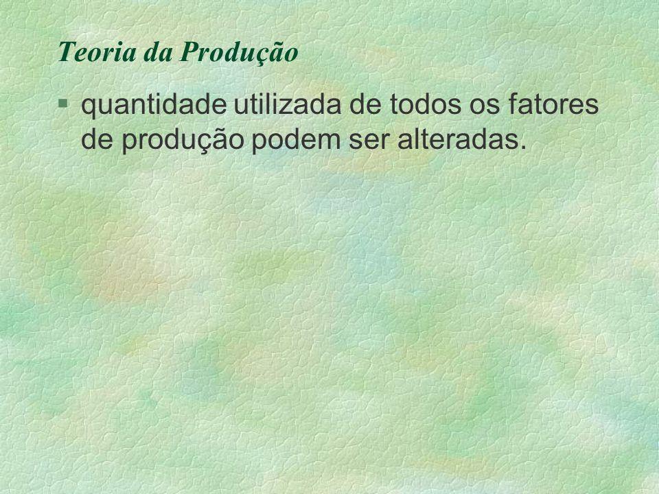 Teoria da Produção quantidade utilizada de todos os fatores de produção podem ser alteradas.